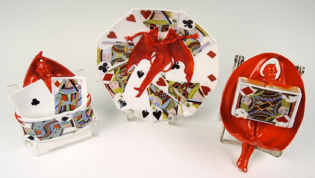 Group Rare Royal Bayreuth Devil and Cards - 2