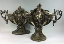Pair Figural Bronze Art Nouveau Urns