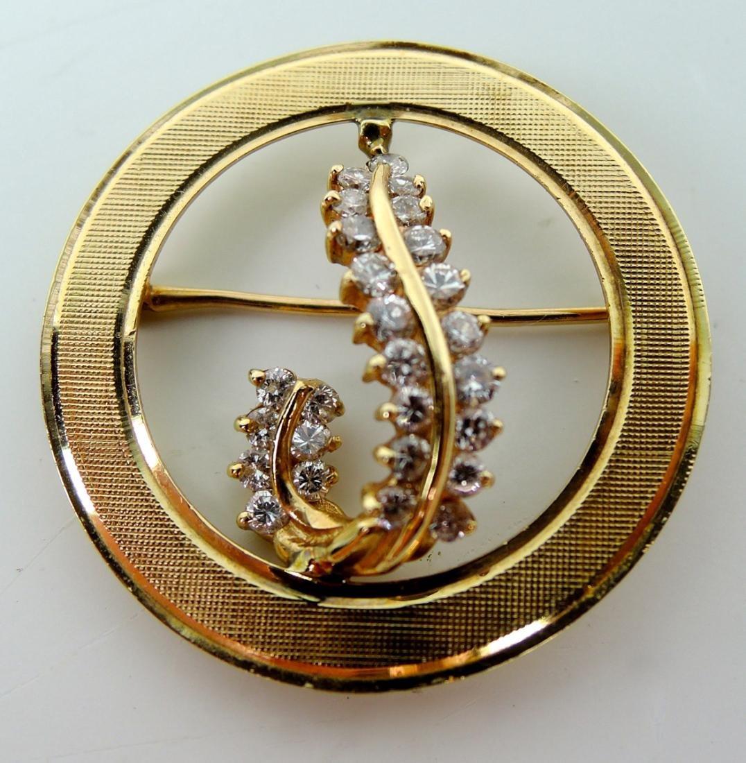 14K Yellow Gold & Diamond Circular Brooch