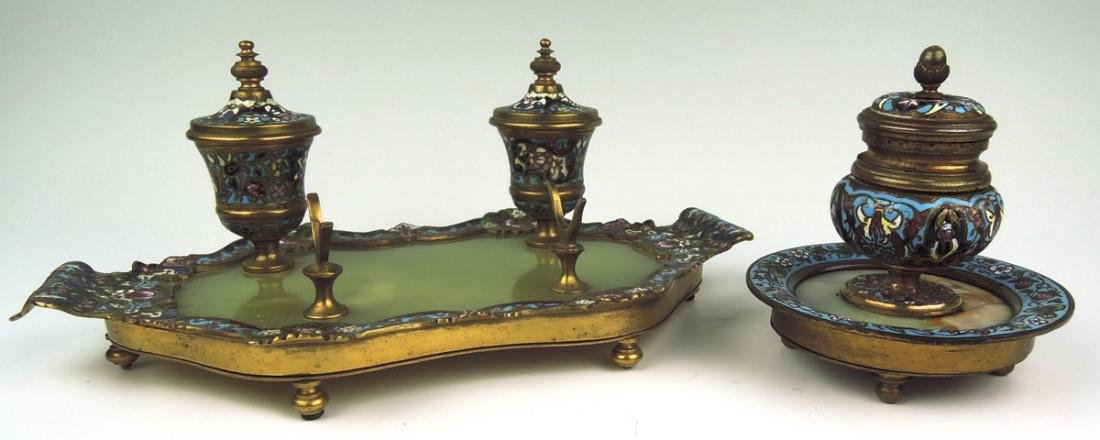 Pair Bronze & Champleve Enamel Inkwells - 2