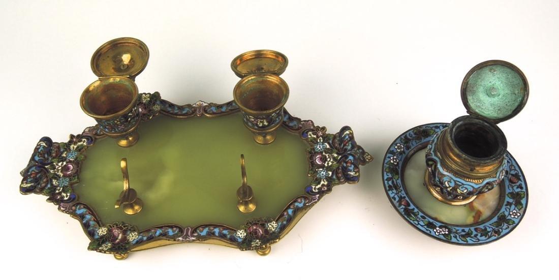Pair Bronze & Champleve Enamel Inkwells - 4