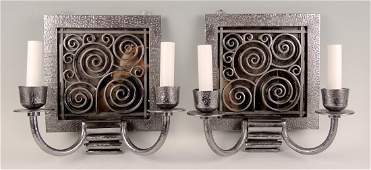 Pair Art Deco Style Metal Wall Sconces