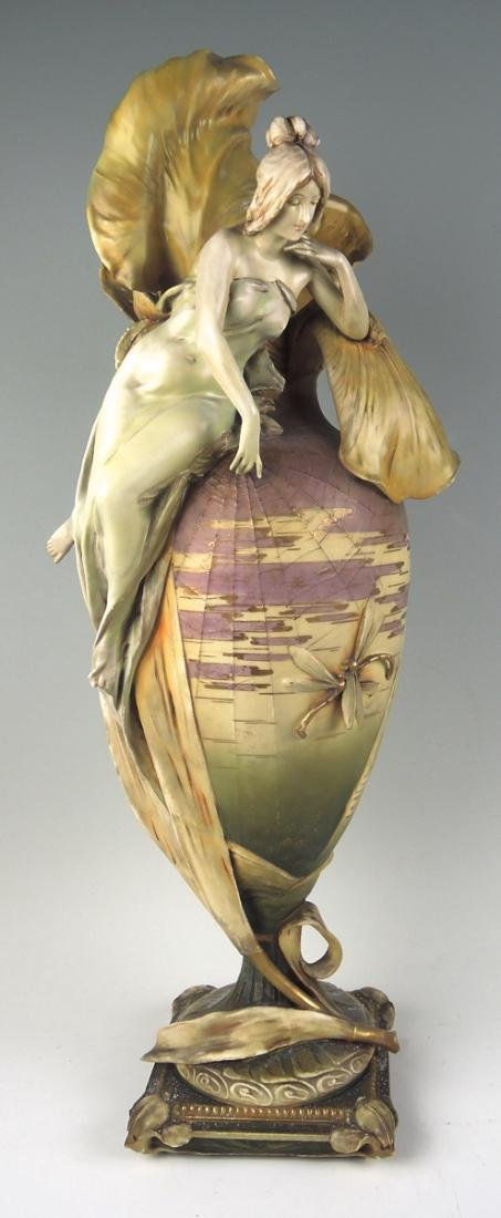 Monumental Art Nouveau Iris Amphora Vase