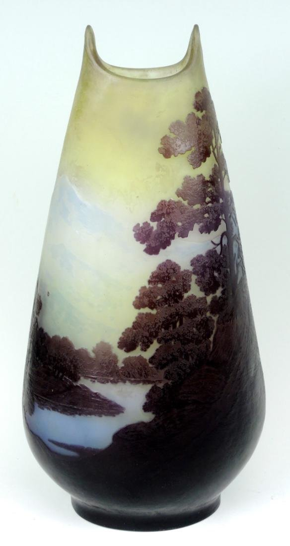 Large Galle 5 color Scenic Cameo Glass Vase