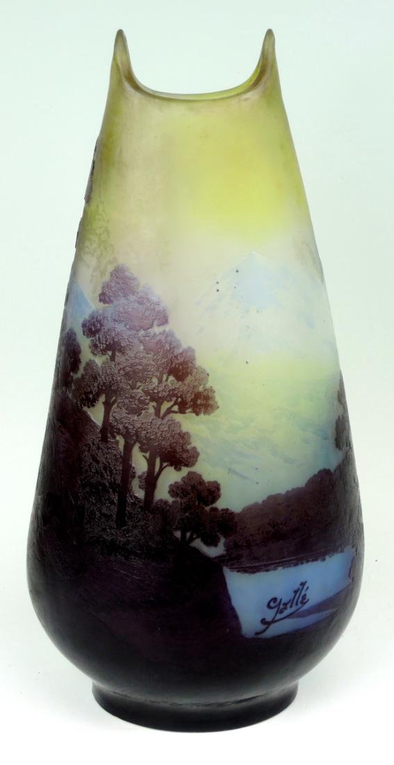 Large Galle 5 color Scenic Cameo Glass Vase - 2