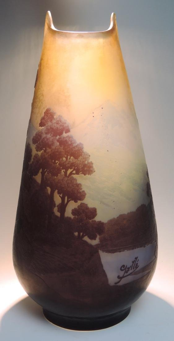Large Galle 5 color Scenic Cameo Glass Vase - 4
