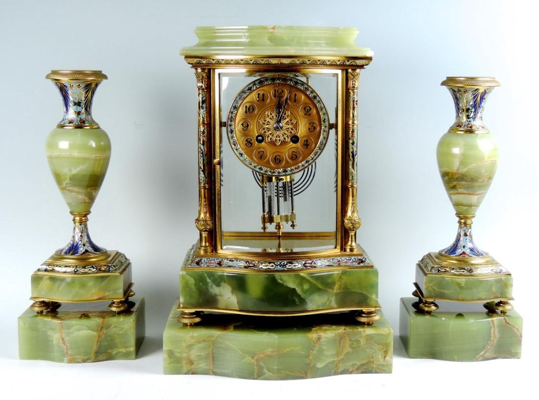 Fine 19th C French Bronze & Enamel Clock Set