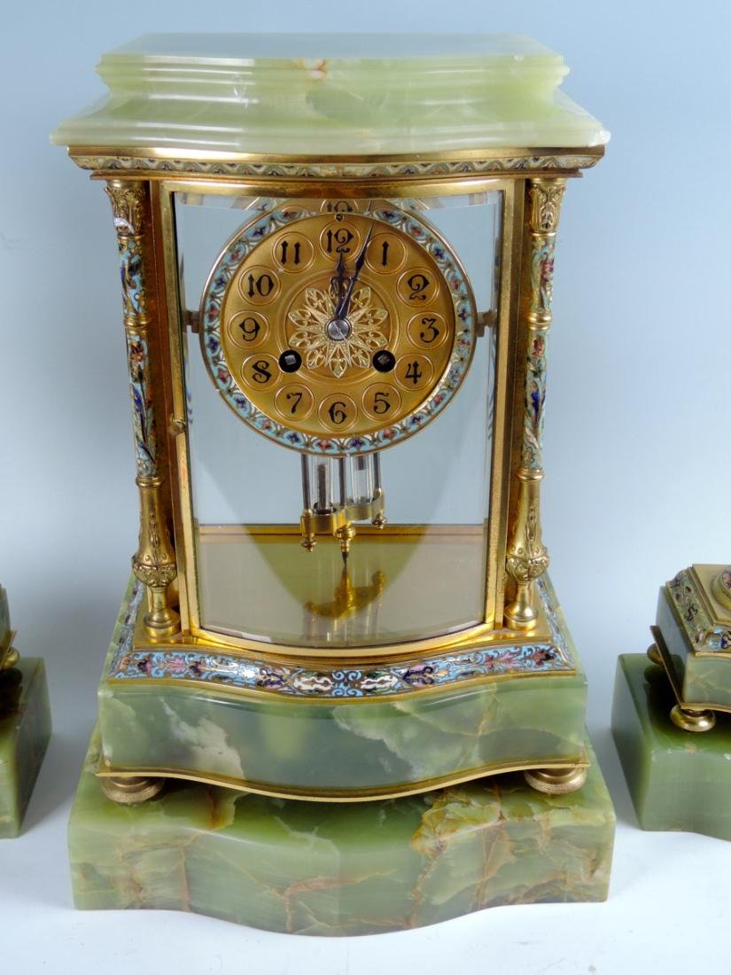 Fine 19th C French Bronze & Enamel Clock Set - 2