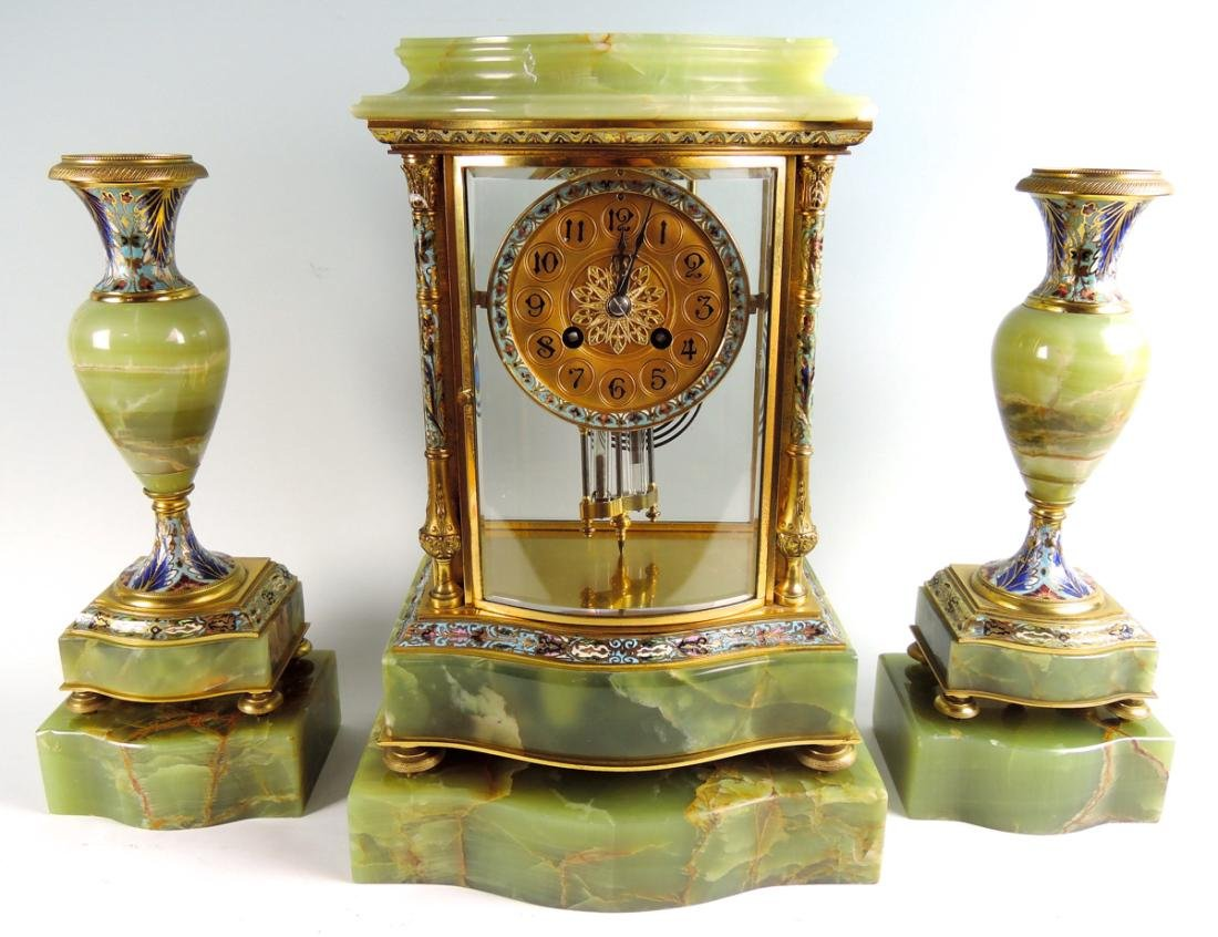Fine 19th C French Bronze & Enamel Clock Set - 4