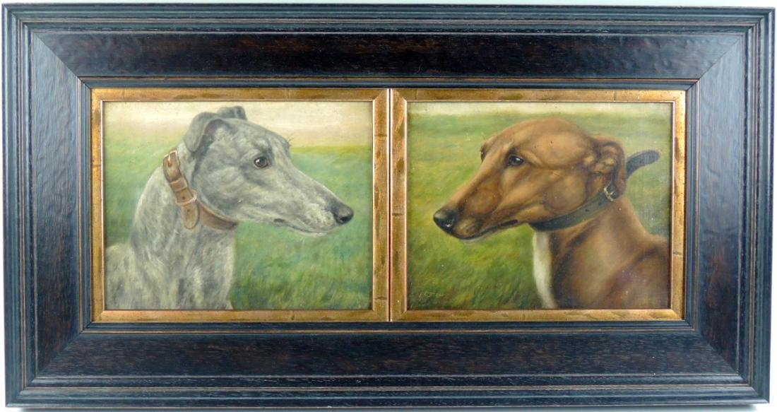 2 Racing Greyhounds O/C signed E. Aistrop