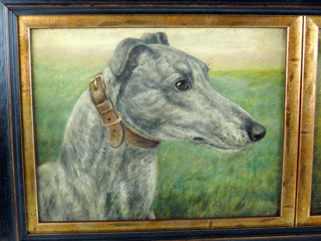 2 Racing Greyhounds O/C signed E. Aistrop - 2