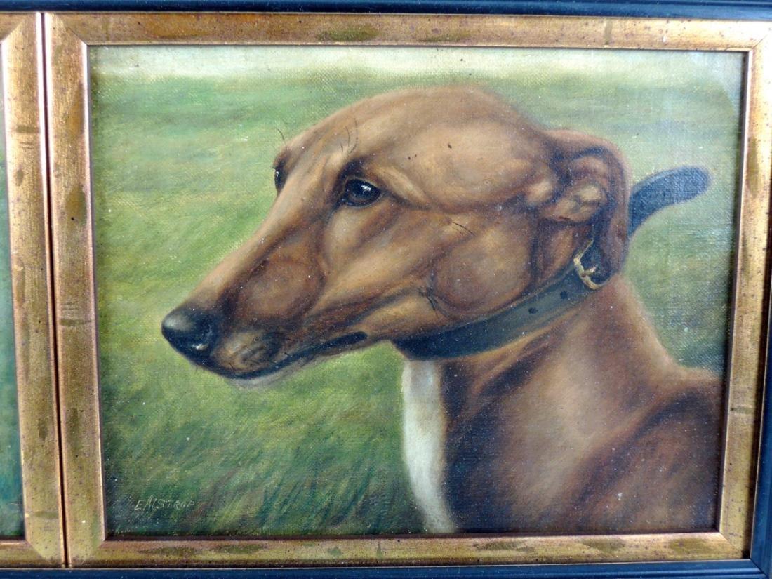 2 Racing Greyhounds O/C signed E. Aistrop - 3