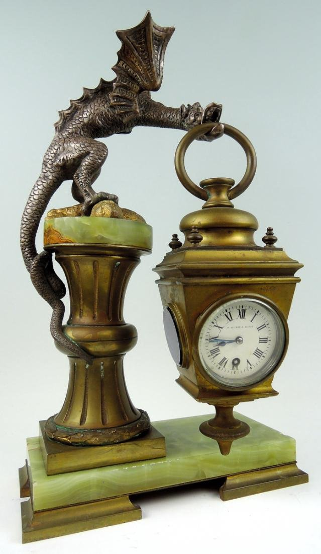 Rare Bronze Winged Dragon Clock