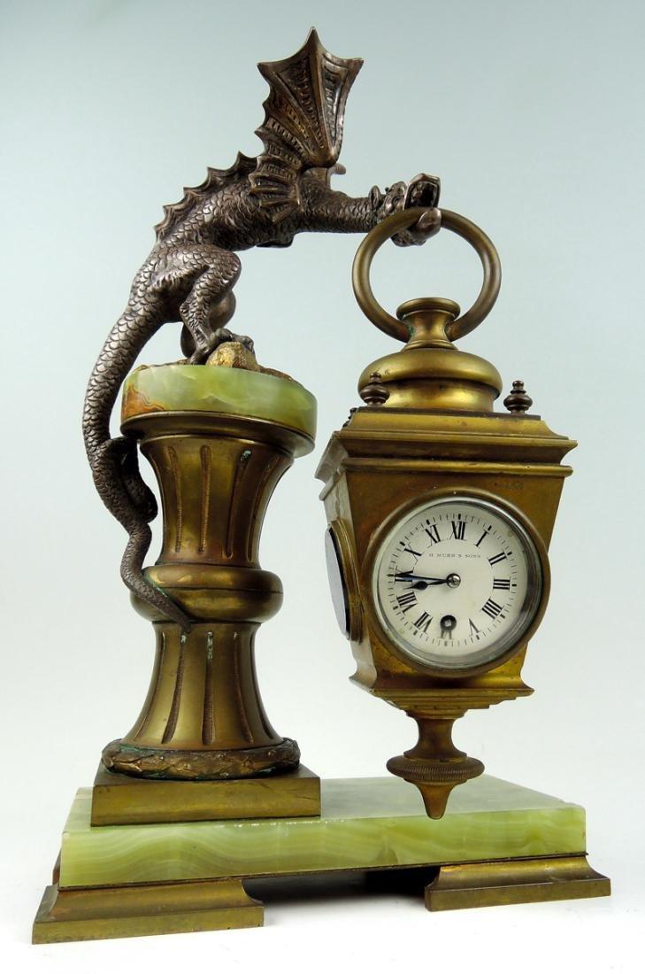 Rare Bronze Winged Dragon Clock - 2