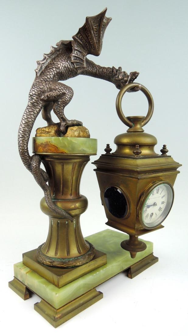 Rare Bronze Winged Dragon Clock - 3