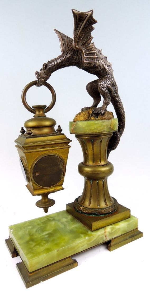 Rare Bronze Winged Dragon Clock - 4