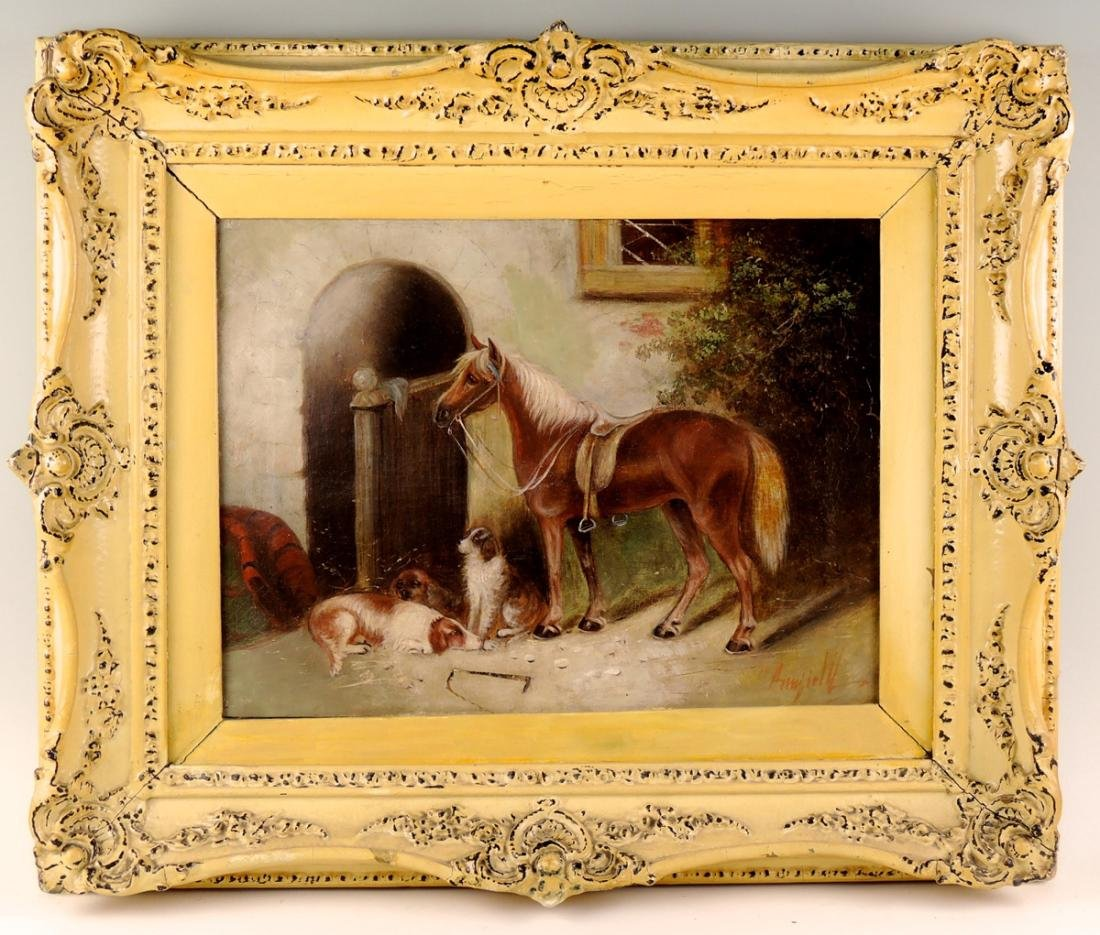 George Armfield Horse & 3 Dogs O/C Painting