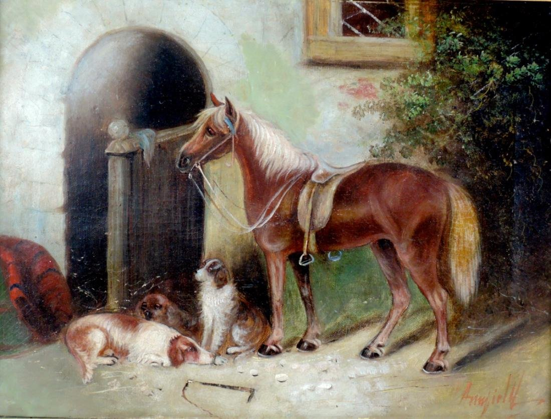 George Armfield Horse & 3 Dogs O/C Painting - 2