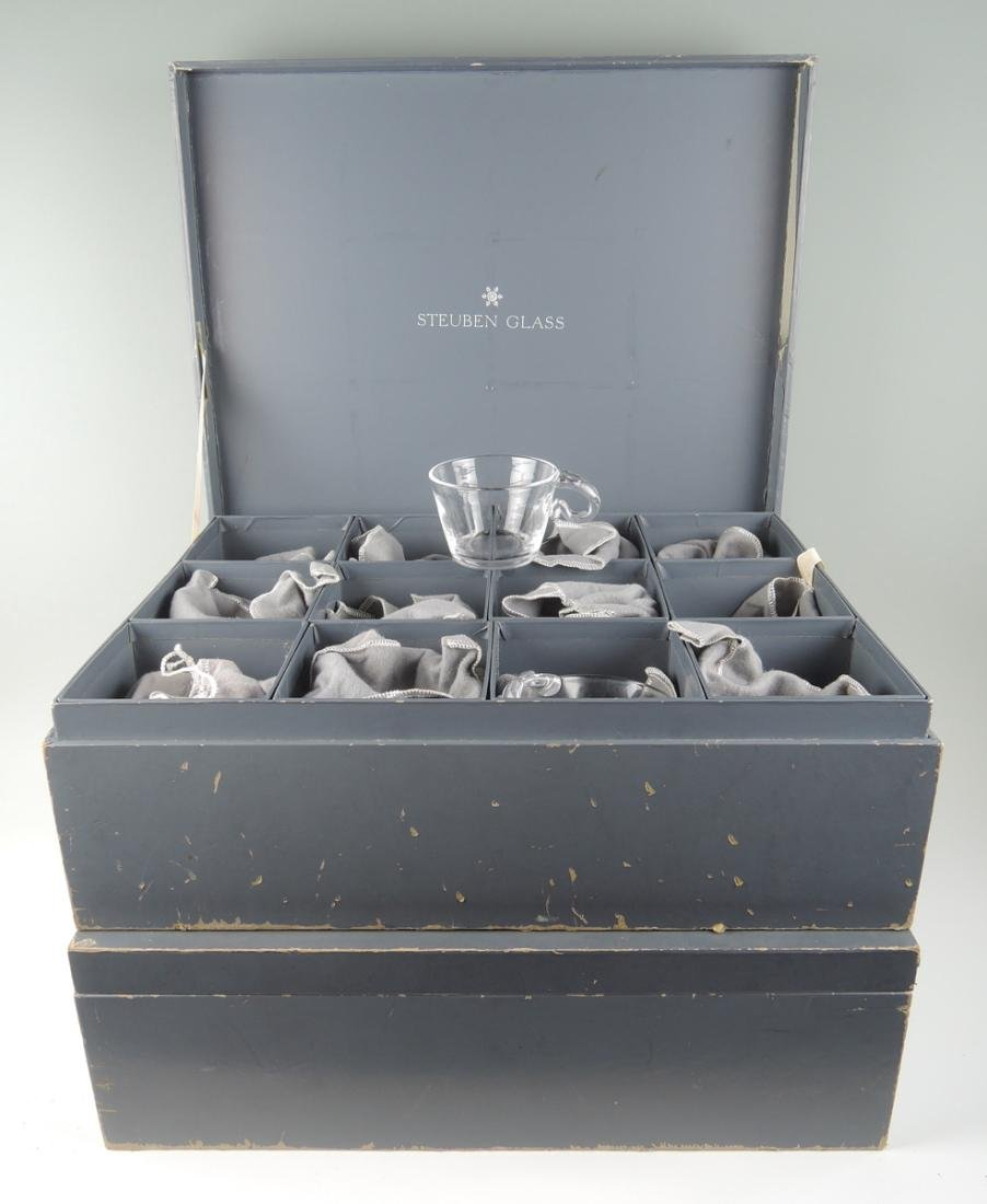 Set of 24 Steuben Glasses w Fitted Boxes