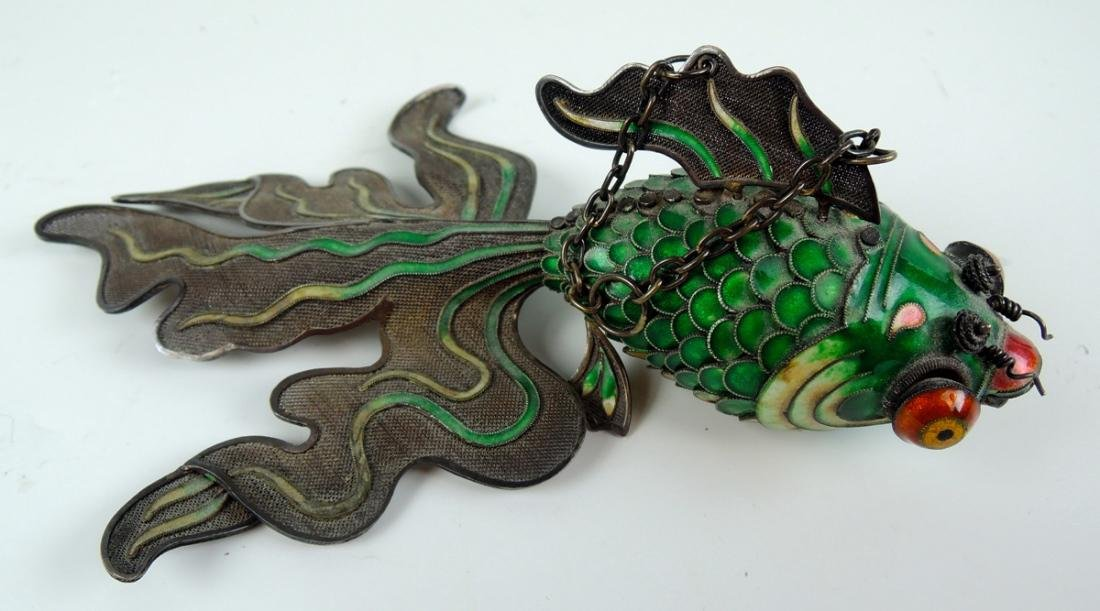 Chinese Enamel & Silver Figure of a Fish