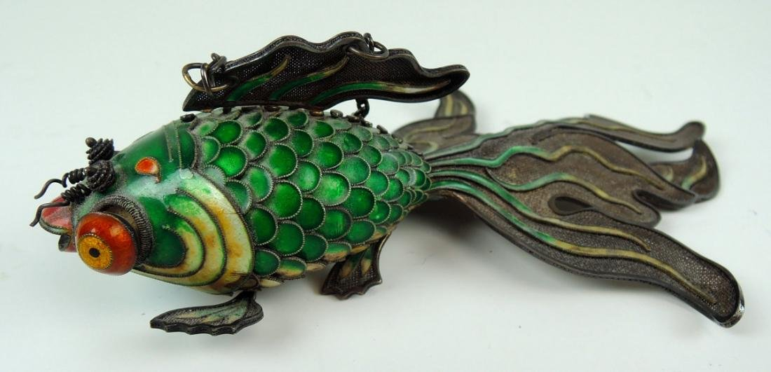 Chinese Enamel & Silver Figure of a Fish - 2