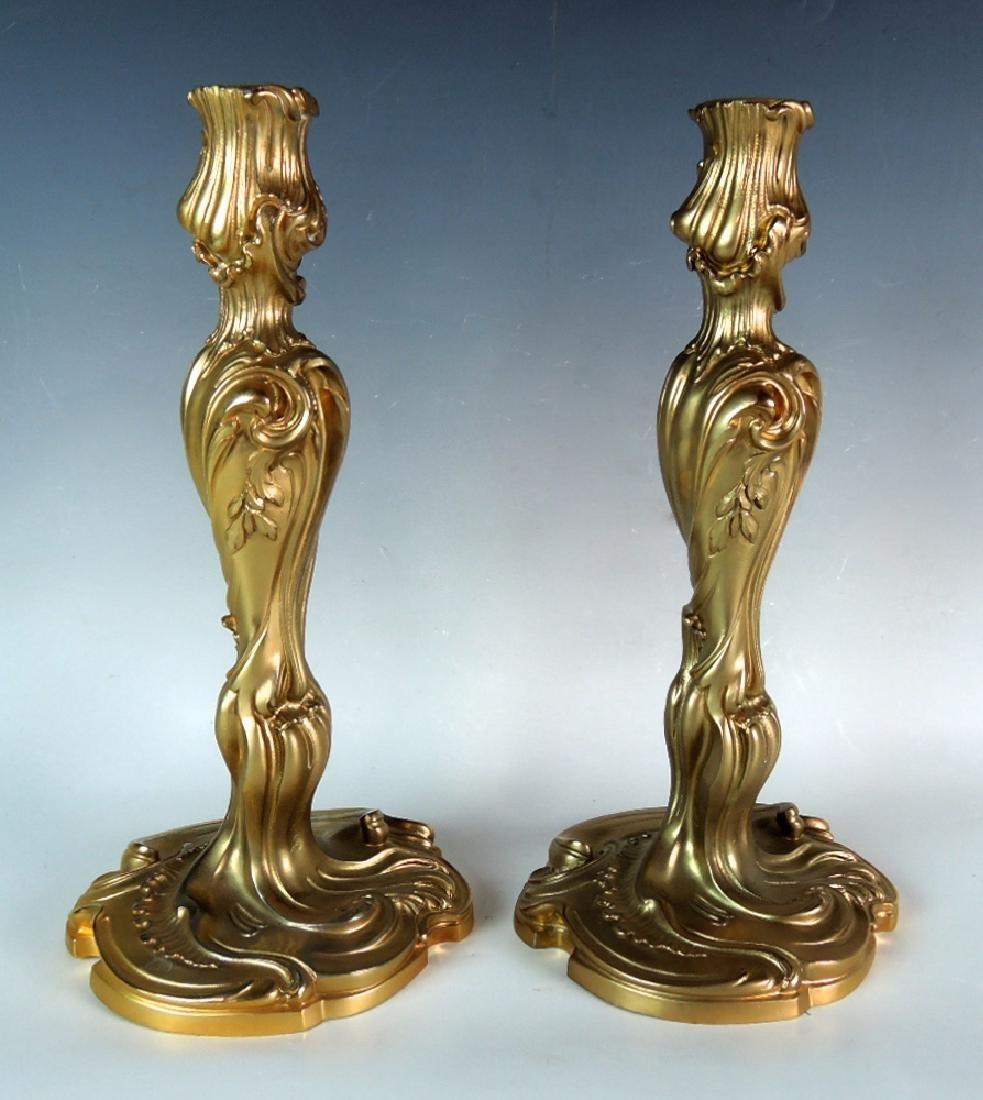 Pair Louis XV Style Gilt Bronze Candlesticks