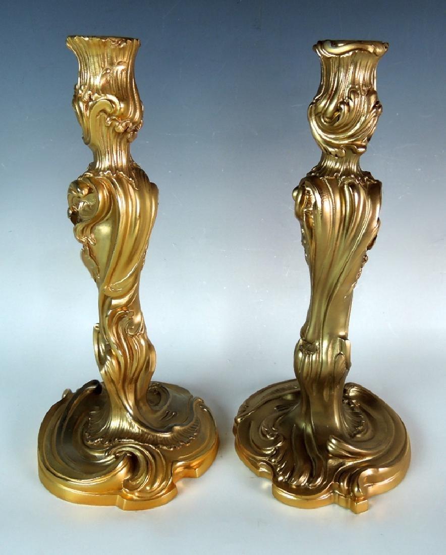 Pair Louis XV Style Gilt Bronze Candlesticks - 2