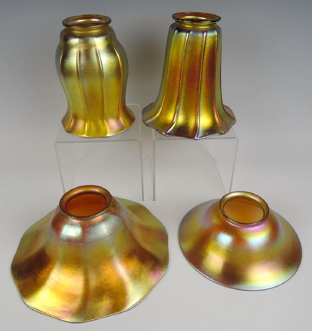 Set of 4 Gold Favrile Art Glass Shades