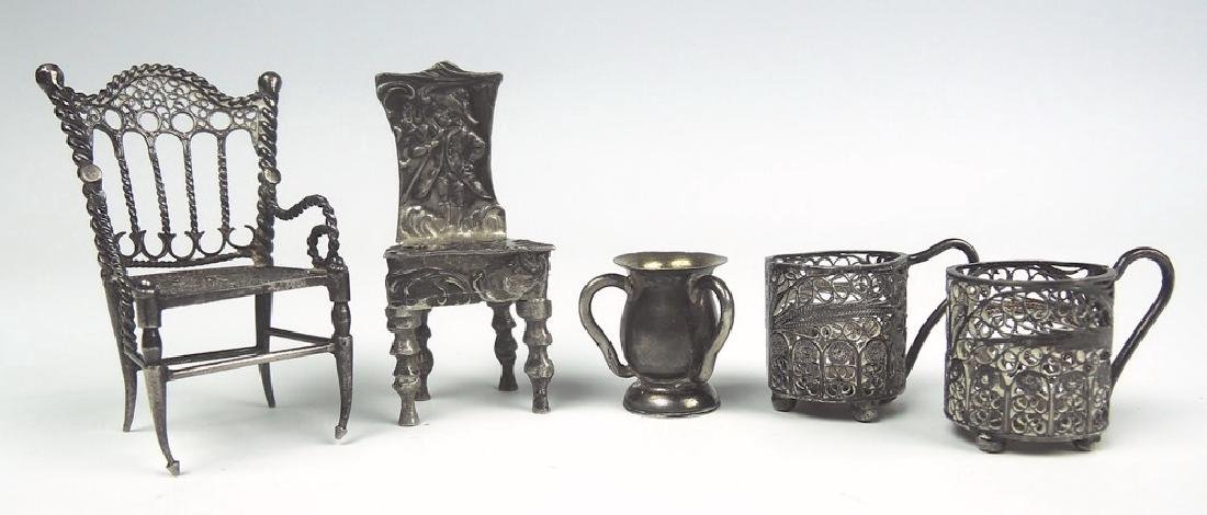 Set of 5 Antique Sterling Silver