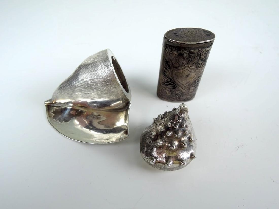 A Tane Silver Seashell Box & a Silver Vesta
