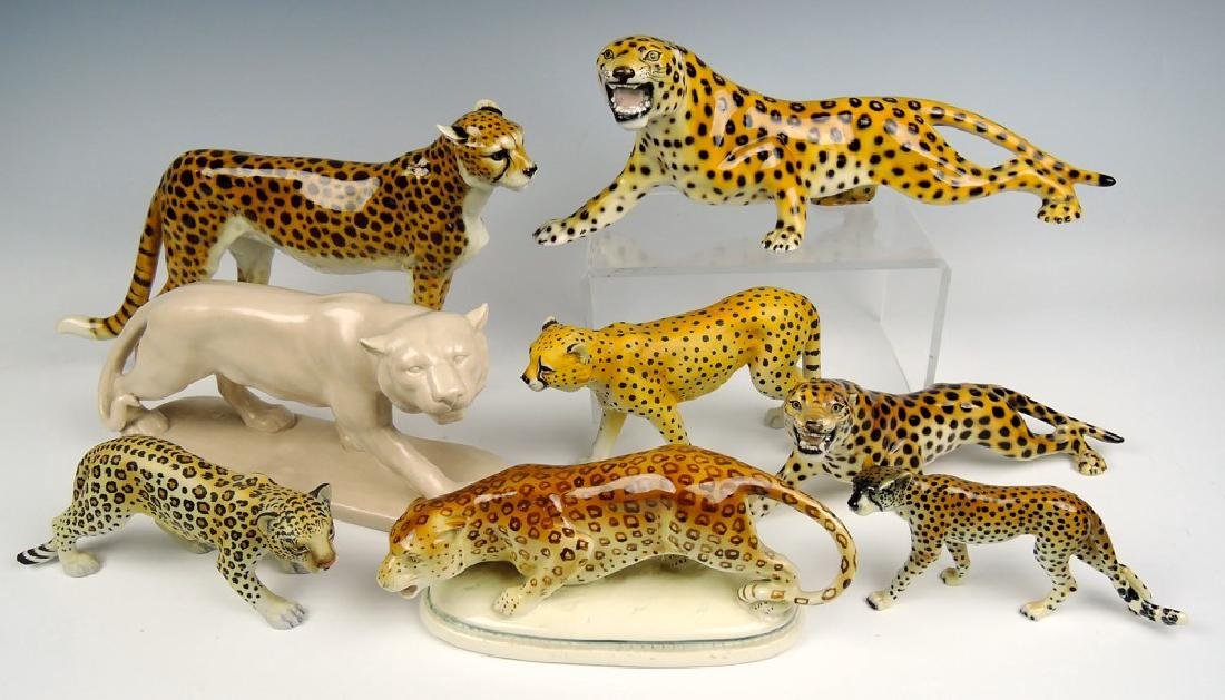 Group of 8 Ceramic Big Cat Figurines