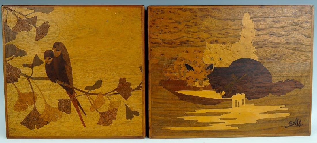 Pair of Galle Marquetry Panels Cats and Birds