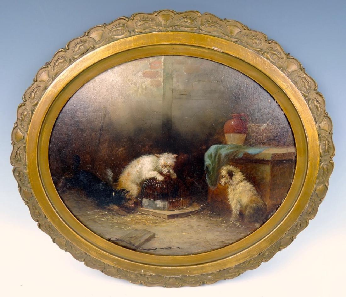 George Armfield (attrib) Three Terriers Ratting