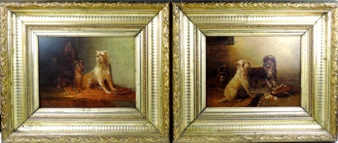 Pr Antique Paintings of Terrier Dogs