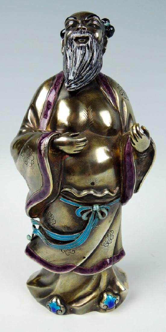Chinese Silver & Enamel Buddha