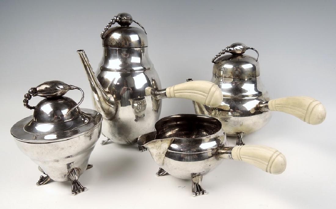4 Pc Danish Style Sterling Silver Tea Service