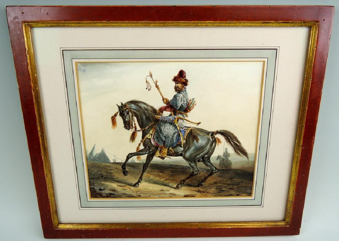 "Carle Vernet Watercolor ""The Tartar Warrior"""