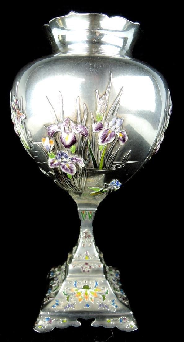 Rare Japanese Silver & Enamel Vase