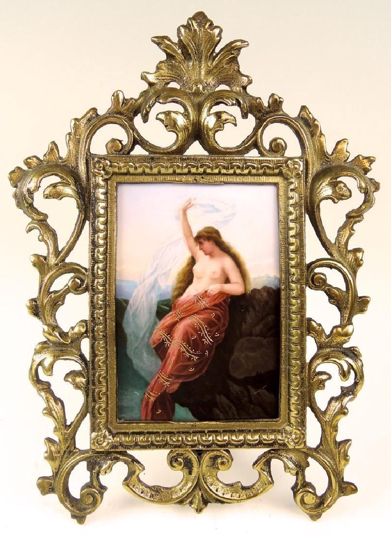 German Hand Painted Semi Nude Porcelain Plaque