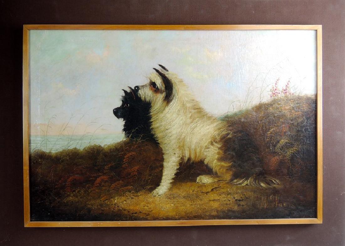 William W. Warren Two Terriers Painting