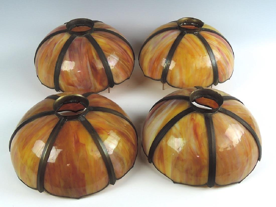 Set of 4 Caramel Slag Glass Shades