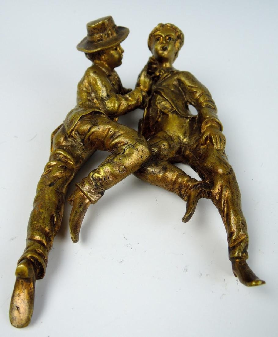 Gilt Bronze Sculpture w Two Romantic Men
