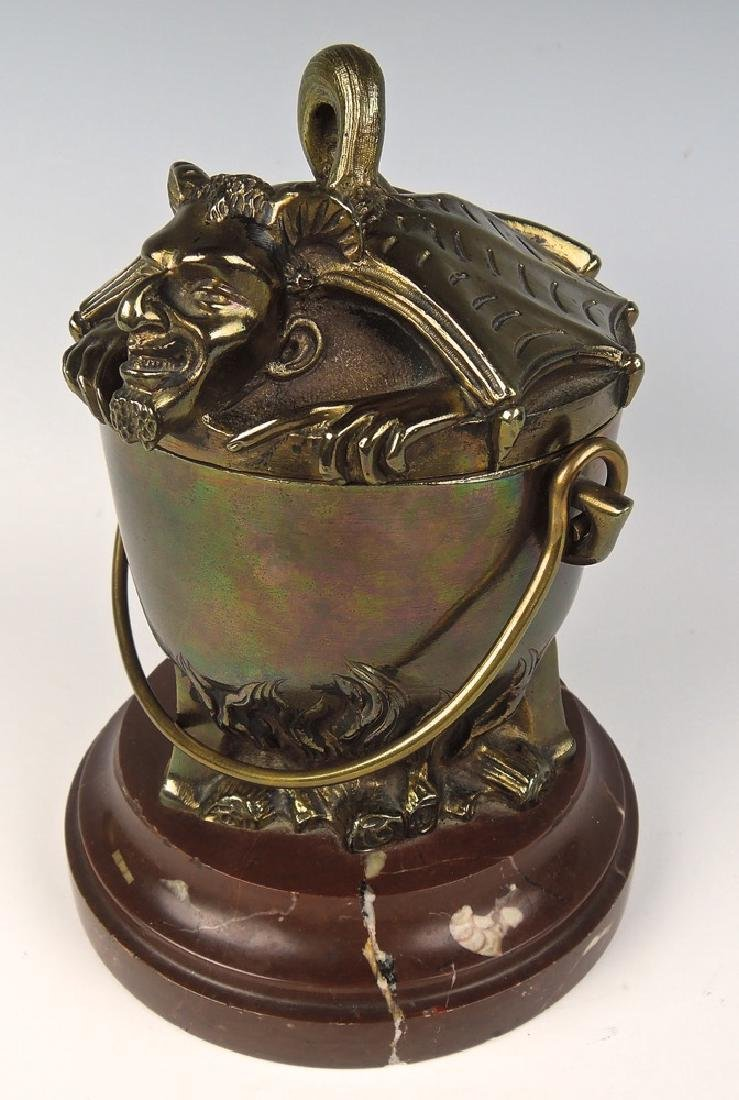 Bronze Devil in the Cauldron Ash Bucket
