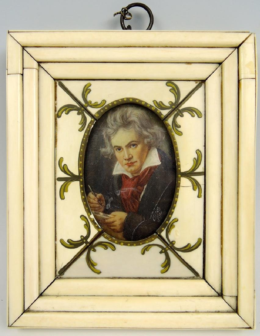 Antique Miniature Beethoven Painting in Bone Frame