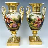 Pair Handpainted Scenic Old Paris Urns