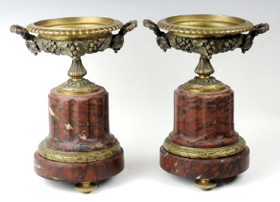Pr French Bronze & Marble Garnitures