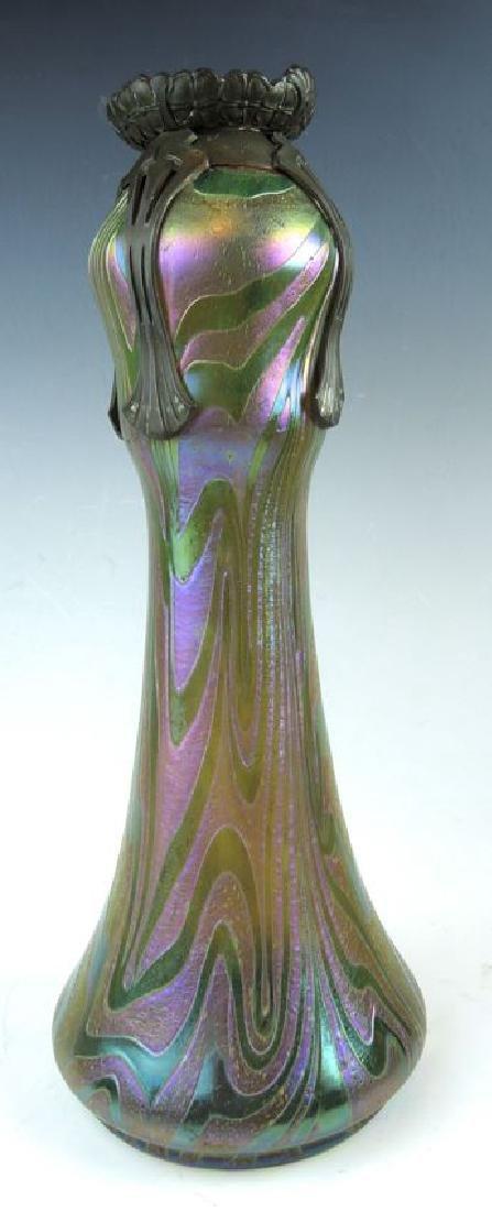 Loetz Metal Overlay Art Glass Vase