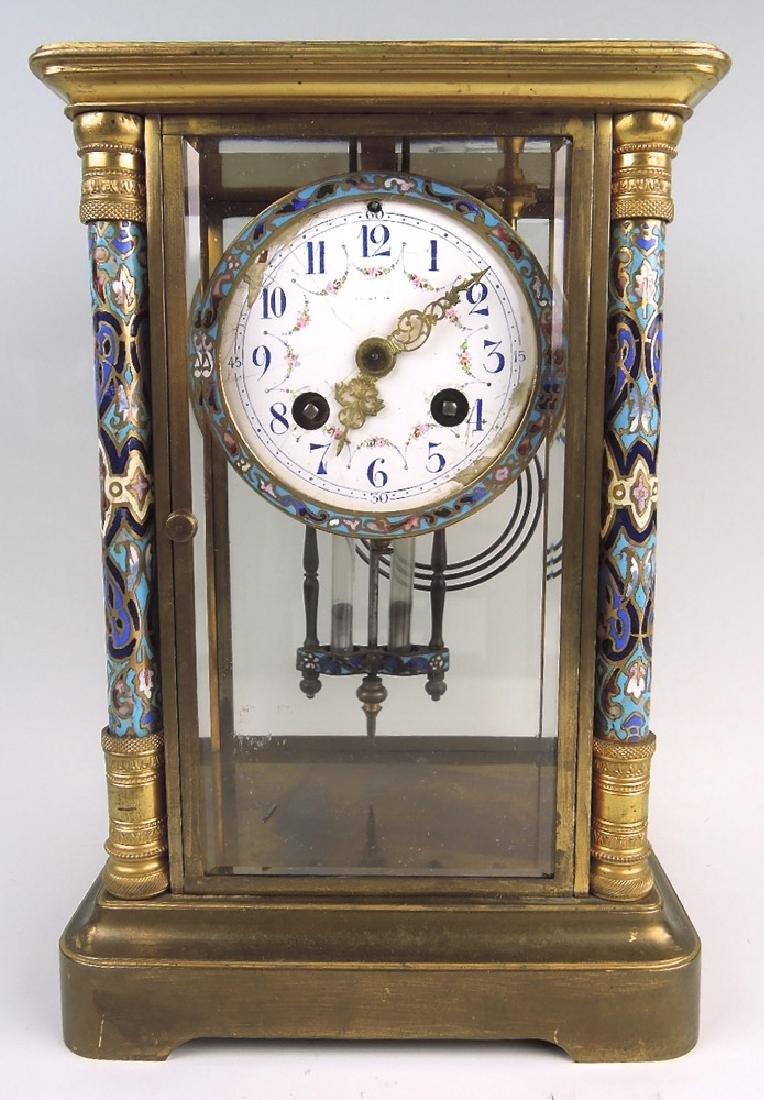 French Champleve Enamel & Bronze Clock