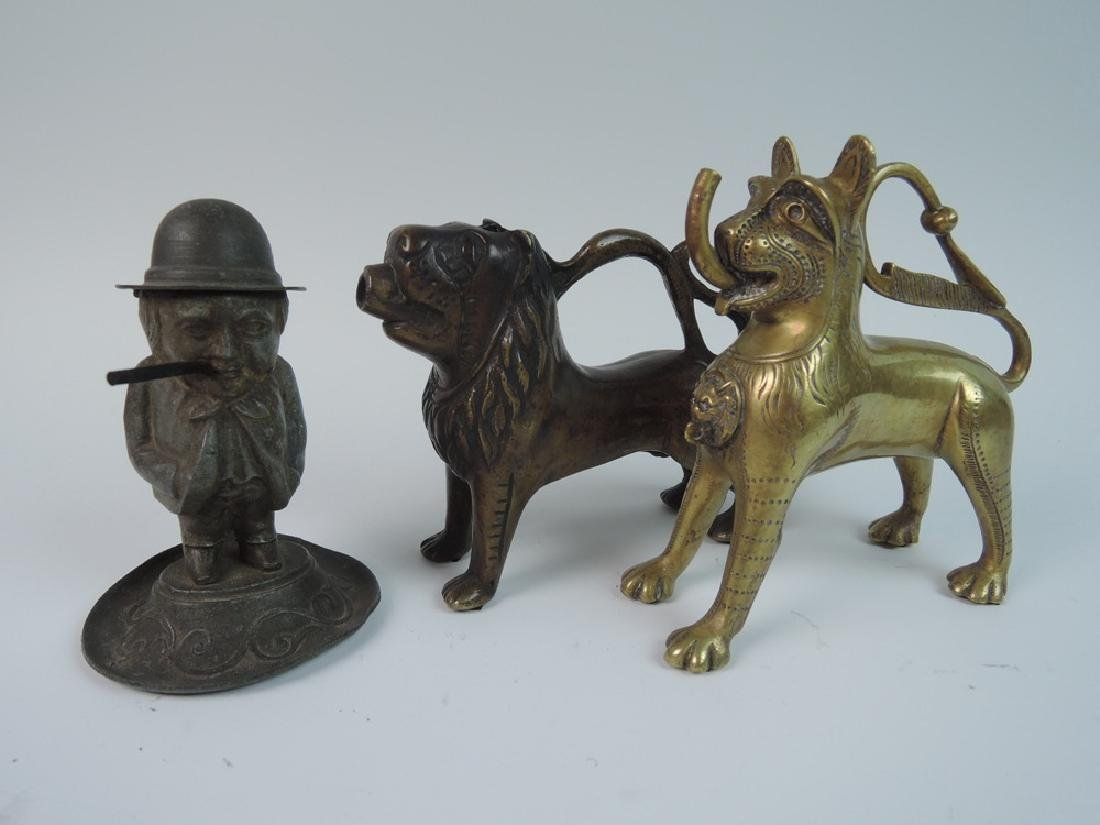 3 Figural Lighters, 2 Lions & Man in Hat