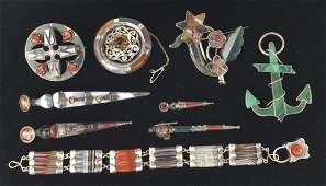Group of 9 Victorian Scottish Silver/Stone Jewelry